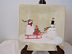 Oneida Snowman & Women Christmas Plate by Debbie Taylor-Kerman