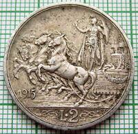 ITALY VITTORIO EMANUELE III 1915 R 2 LIRE, QUADRIGA, SILVER TOP GRADE PATINA