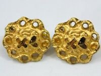 Vintage French Christian Lacroix Round Goldtone Clip On Earrings Heart X Signed