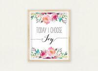 Today I Choose Freude Wandkunst, Mädchen Kinderzimmer Dekor, Positive Wandkunst