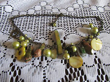 """Tarnished Bronze Tone Chain with Green Plastic Stone & Shell Beads - 20"""" long"""