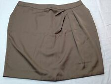NWT New York & Company Women Side Pleat Polyester Brown Taupe Back Zipper Skirt