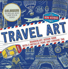 NEW TRAVEL ART Wanderlust COLOURING Design Book with 2 Metallic Pen Luggage Tag