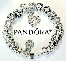 Authentic Pandora Silver Charm Bracelet Heart Love Angel European Charms Beads