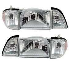 1987-1993 Ford Mustang 6pc Euro Clear Headlight Set with Amber Side Markers