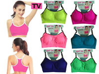 Womens Padded Sports Bra Ladies Gym Yoga Workout Fitness Exercises Run Crop Top