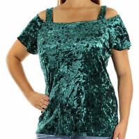 INC International Concepts NEW Velvet Cold Shoulder Top Dark Green Large