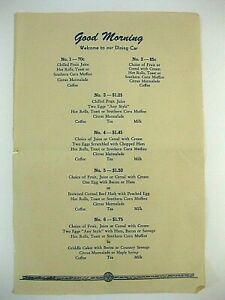 1950's Seaboard Railroad Air Line Good Morning Dining Car Paper Menu Train