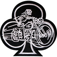 Playing Card Club Patch Iron Sew On Badge Skeleton Biker Motorcycle Motorbike