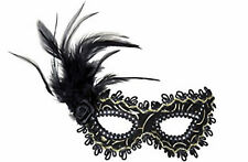 Ladies Sexy Masquerade Ball Black Eye Mask with Gold Accents Feather & Rose