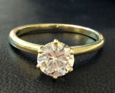 D/VS2 1.00 Carat Round Cut Diamond Solitaire Engagement Ring 14K Yellow Gold