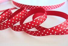 "5 yards Red/White Swiss Polka Dots Grosgrain 3/8"" Ribbon 9mm/Craft/Supply R79-01"