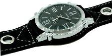 Reloj montado en cuero mecanismo cuarzo XXL caja niquelada y esfera de cristal