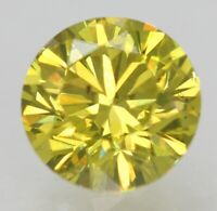 Cert 1.00 Ct Vivid Yellow VS2 Round Brilliant Enhanced Natural Diamond 6.38m 3EX