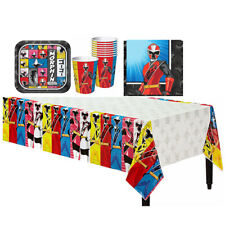 Power Rangers Ninja Steel Birthday Party Set Table Cover Plate Cup Napkin 33 pc