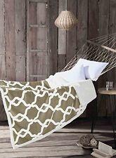 Taupe Reversible Sherpa Fleece Throw Blanket: Moroccan Trellis Design, 50x60
