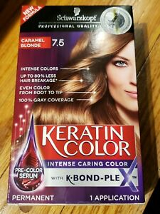 Schwarzkopf Keratin Color Permanent Hair Color Cream, 7.5 Caramel Blonde