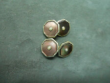 VINTAGE OLD VERY SHARP 18K WHITE GOLD FRONTS CUFF LINKS