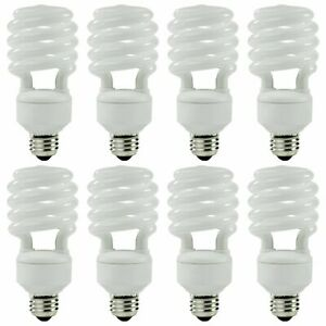 Rite Aid Spiral CFL Light Bulb 26W 1750lm E26 Base Damp Rated UL Listed 8 Pack