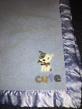 Child of Mine Carters Cute Dog Puppy Blue White Stars Satin Trim Baby Blanket