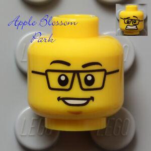 NEW Lego Agent MINIFIG HEAD Girl Boy w/Black Rimmed Eye Glasses & Big Smile Grin