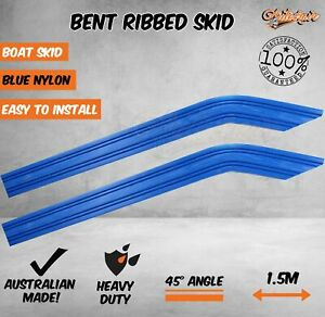 Boat Trailer Skid Bent 45 Angle Ribbed Blue Nylon Grooved Plastic 70x40x 1500mm
