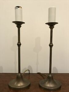 Pair Of Laura Ashley Brass Lamps - Candlestick Style