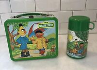 Vintage Aladdin 1983 Sesame Street Metal Lunchbox With Thermos