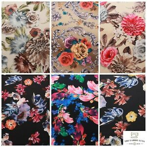 """Floral Rose Leaves Spring Autumn Scuba Jersey Stretch Fabric, High Quality 60"""""""