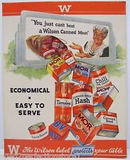 Old Wilson Canned Meat Grocery Store Advertising Sign cardboard meats display