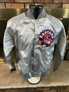 Vintage Toronto Raptors NBA Basketball Satin Snap Jacket Mens Small Silver RARE