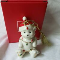 Lenox Christmas Ornament Very Merry Holiday Porcelain Bear Wrapped Lights 3.5""