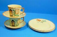 VINTAGE KEELE ST POTTERY COUNTRY WARE TEA CUP, SAUCER AND SIDE PLATE X 2 1950'S