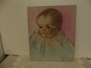VTG COLORED CHALK DRAWING OF BABY SIGNED ELAINE ADAMS