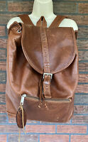 Vintage Wilsons Brown Leather Authentic Multipockets Drawstring Backpack Travel