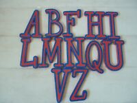 """FOAM WALL LETTERS 7"""" CRAFTING CREATING 3 YRS + RED & BLUE GLITTER"""