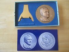 """President Richard M. Nixon Large 2-3/4"""" Bronze Medal with stand, box, brochure"""
