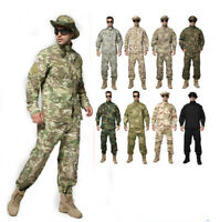 Mens Tactical Camo Combat Airsoft Sets Jacket Pants Military Uniform Suits BDU