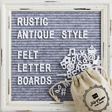 Gray Felt Letter Board with Rustic White Wood Farmhouse Vintage Frame and Stand