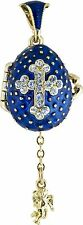 Faberge Egg Pendant / Charm with Cross & Angel 2.2 cm blue #0729