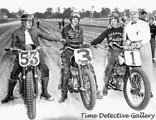 Harley Davidson & Indian Motorcycle Racers - 1952 - Vintage Photo Print