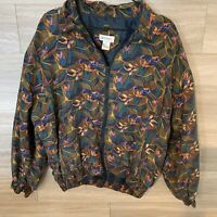 Vintage Bogari Silk Bomber Zip Up Jacket Fully Lined Lightweight Size Large