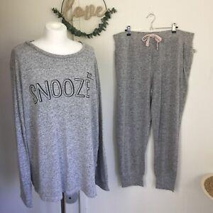 "Pyjama Set UK 18-20 Grey ""Snooze"" Jersey Bottoms Top Stretchy Comfy Nightwear"