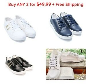 Womens Ladies Fashion Leather Sneakers Casual Athletic Shoes Lace Up