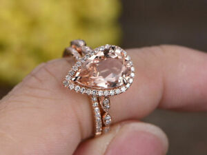 3.30 Ct Pear Cut Morganite Art Deco Engagement Ring Set 14k Rose Gold Over