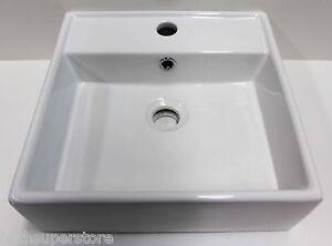 White Basin CounterTop Modern Square Ceramic 380 width x 380 d x 125 Bowl NEW
