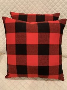 "2pc Set Buffalo Plaid Red/Black Throw Pillows Couch Decor Pillows 16"" x 16"" New"