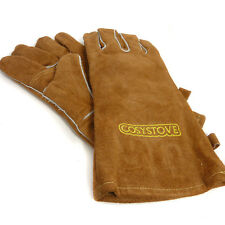 COSYSTOVE Tan Leather Long Fireside Gauntlet Gloves Coal Fire / Wood Stove / BBQ