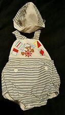 vintage boy sunsuit/hat set size 3/6 months