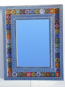 """30"""" PUNCHED TIN MIRROR with mixed talavera tile mexican folk art wall decoration"""